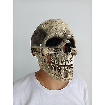 Mask Headgear. Halloween Horror Adult Skull Mask Balaclava. A Mask Headgear With A Movable Mouth. Suitable For Prom Play Halloween Made Of 100% Latex.