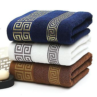 Juego de 3 piezas de toallas de baño y ducha de algodón bordado suave de lujo (34x74cm) (Blanco (3pcs))
