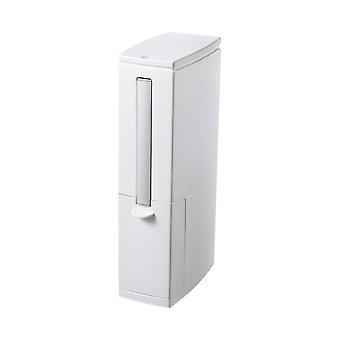 Homemiyn سليم القمامة البلاستيكية يمكن، سلة المهملات مع حامل فرشاة المرحاض، ويمكن القمامة مع غطاء أعلى الصحافة، أبيض مستطيلة النفايات الحديثة يمكن للحمام