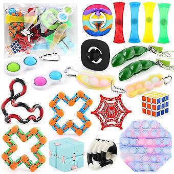 20st Anti Stress Leksaker Set Barn Fidget Leksaker Diy Push Pop Bubble