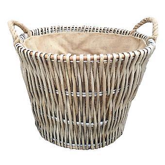 Runde graue hessischen Liniertes Log Basket