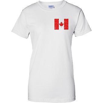 Canada Distressed Grunge Effect Flag Design - Ladies Chest Design T-Shirt