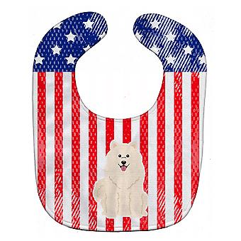 Carolines skarby BB3025BIB patriotyczne USA samojeda Baby Bib
