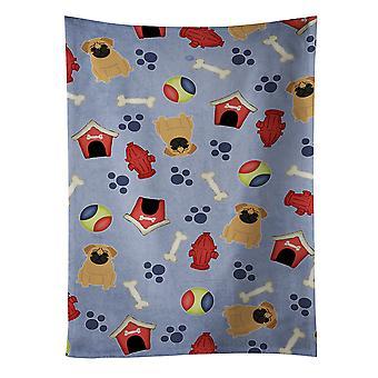 Carolines skarby BB2620KTWL Dog House kolekcja Mops Ręcznik kuchenny brązowy