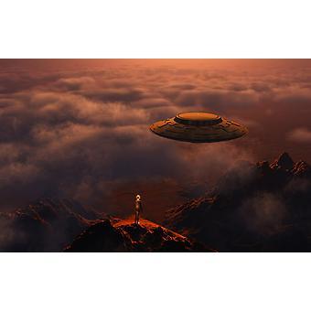 Робот Киборг, стоя на уступе горы как летающая тарелка летит выше Плакат Печать Марк StevensonStocktrek изображения