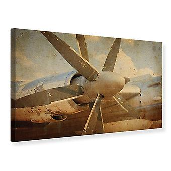Canvas Print Propeller Plane In Grunge Style