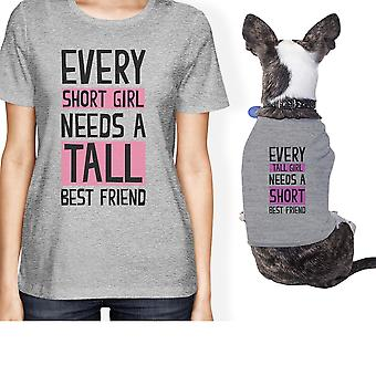 مالك الحيوانات الأليفة الصغيرة صديق قصير القامة مطابقة هدية تتسابق القمصان الرمادية