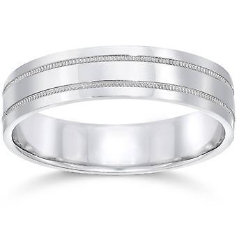 5 millimetri Flat doppio milligrana Wedding Band 10K White Gold