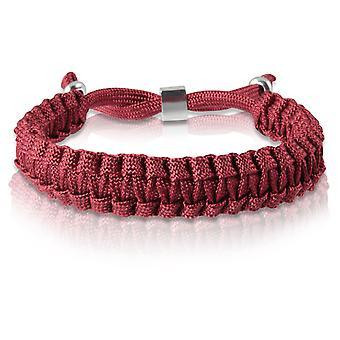 Skipper flätat armband armband armband flätad nylon i Bordeaux silver 7174