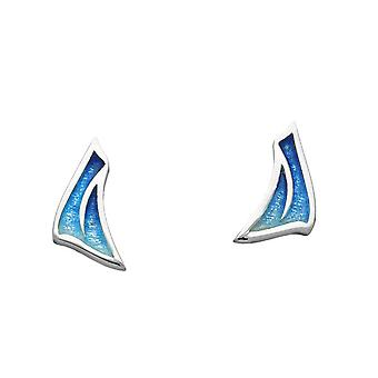 Sterling Silver Traditional Sail Away Boat Shaped Design Pair of Earrings - EE483