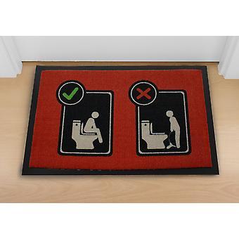 Toilet vloer tapijt rood, gemaakt van polypropyleen, antislip PVC rubber onderkant.