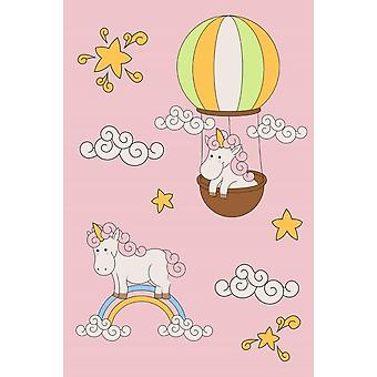 Pink Bedroom rug Baby Unicorn 120x180cm