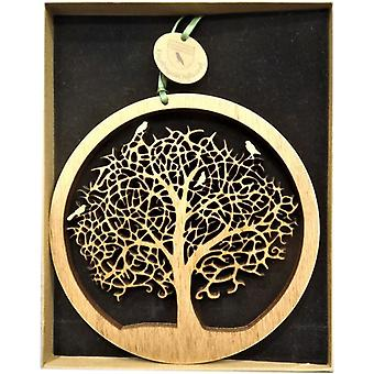 Roikkuu Wood plaketti - elämän puu pieni