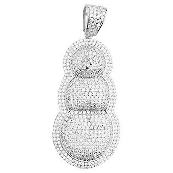 Premium Bling - 925 sterling silver snowman pendant