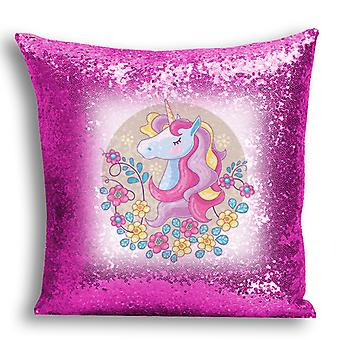 i-Tronixs - Unicorn Printed Design Pink Sequin Cushion / Pillow Cover for Home Decor - 5