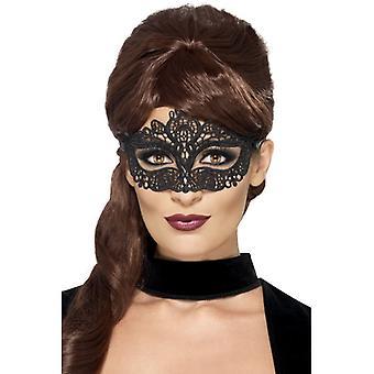 Oční maska černá vznešená Výšivka Venezia