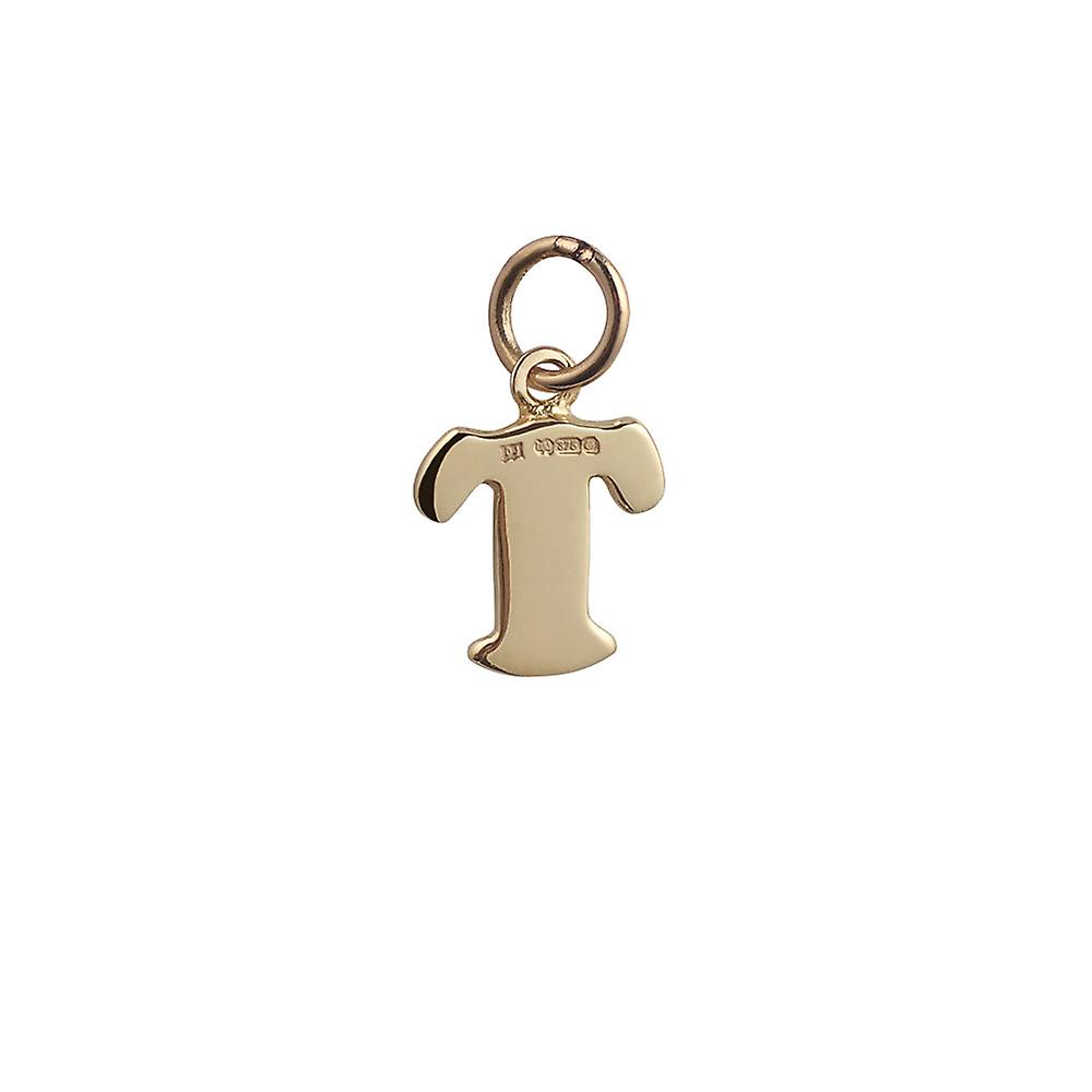 9ct Gold 10x10mm plain Initial T Pendant or Charm