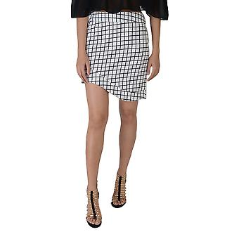 Lovemystyle Asymmetrical Black And White Checked Bodycon Skirt