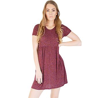 Friday's Project Maroon T-Shirt Smock Dress With All Over Ditsy Print