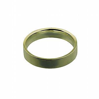 18ct Gold 5mm plain flat Court shaped Wedding Ring Size Z