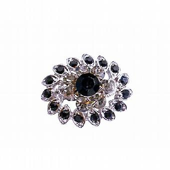 Vintage Black Diamond & Jet Crystal Silver Casting Multipurpose Broche