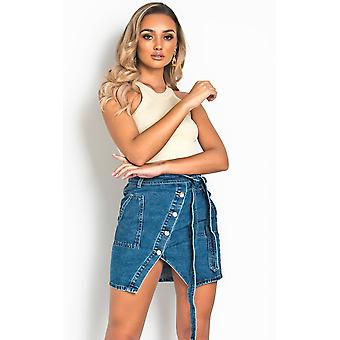 IKRUSH Womens Riley High-Waisted Belted Frayed Denim Skirt