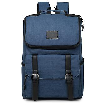 Medium size backpack with faux leather details-dark blue