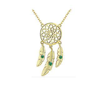 Collier Attrape Reves orné de Cristal de Swarovski vert et Plaqué or jaune 8158