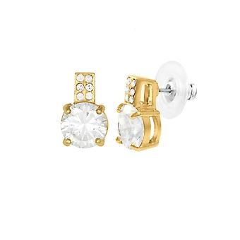 Eternal Collection Caress Clear Crystal And CZ Gold Tone Stud Pierced Earrings