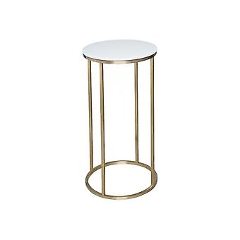 Gillmore White Glass And Gold Metal Contemporary Circular Lamp Table