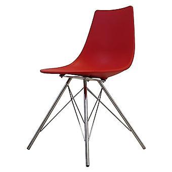 Fusion Living Iconic Red Plastic Daning Chair con gambe in metallo cromato
