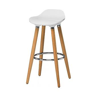 Fusion Living White Plastic Bar Stool With Beech Wood Legs