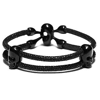 Lavriche Stingray Leather Bracelet with Skull Bead Black High Quality
