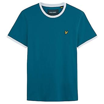 Lyle and Scott Ringer T-shirt-petrol Teal/wit