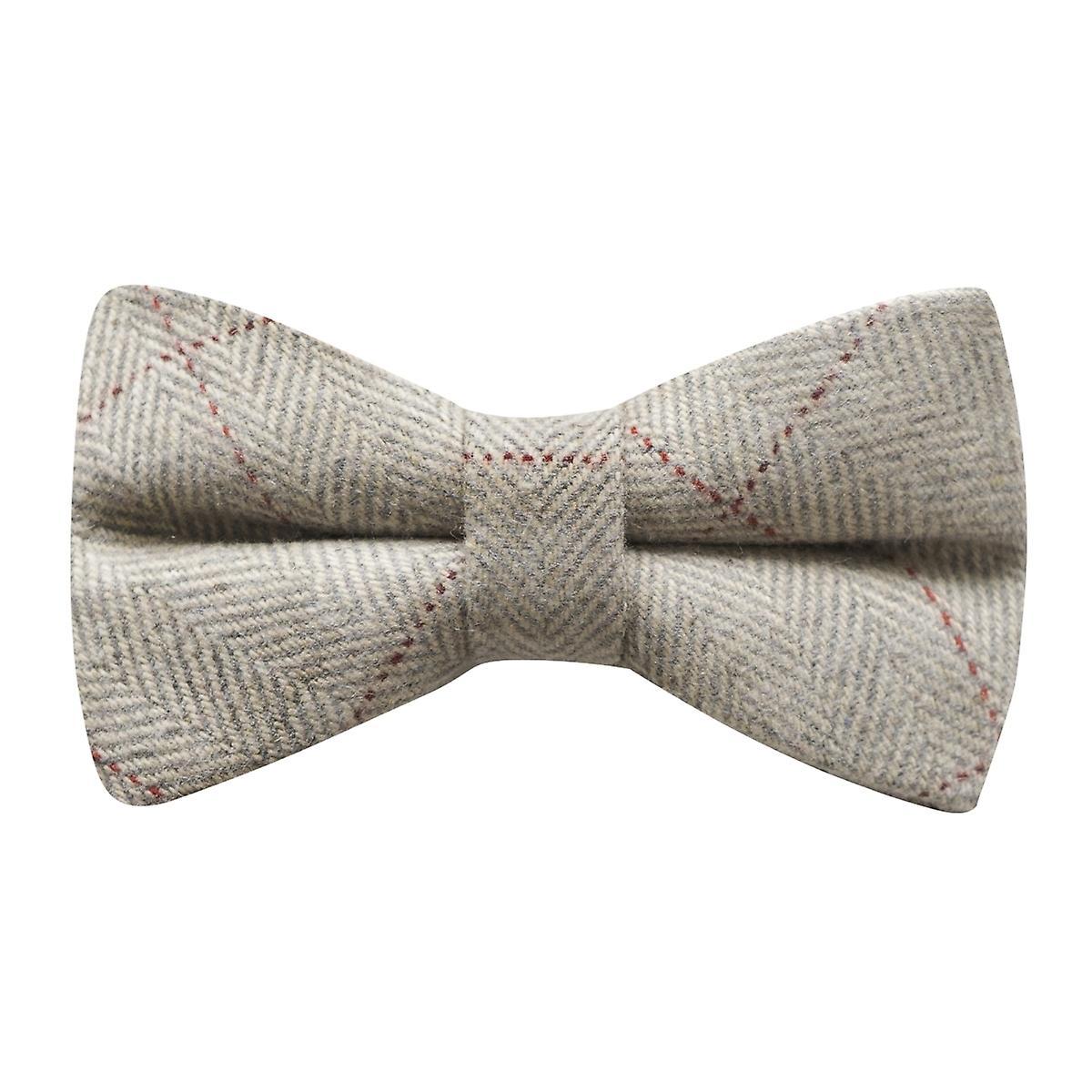 Light Grey Herringbone Tweed Bow Tie