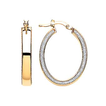 Jewelco London Ladies Yellow Gold-Plated Sterling Silver # Moondust Hoop Earrings 19x25mm