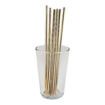 6x rechte metalen stro-goud