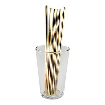 6x straight metal Straw-gold