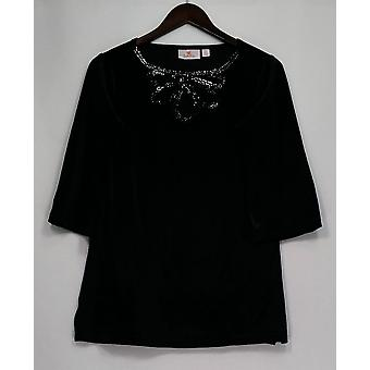 Quacker Factory Women's Top Velvet Mesh Keyhole Black A238022
