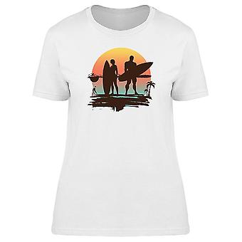 Tropical Couple Surfboard Tee Women-apos;s -Image par Shutterstock