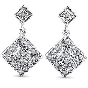1/2 forme coupe princesse Dangle Earrings 10K diamant or blanc