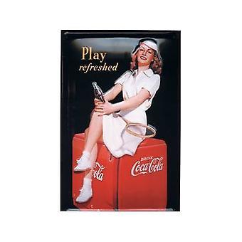 Coca Cola '' dziewczyna tenisu '' wytłoczony znak stali