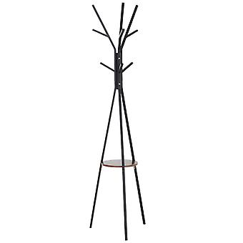 HOMCOM 180cm Free Standing Metal Coat Rack Stand 9 Hooks Clothes Tree with 1 Shelf Hat Display Hall Tree Hanger Bag Umbrella Hanging Organiser for Hallway Bedroom Waiting Room Living Room (Brown)
