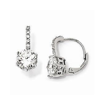 925 Sterling Silver Leverback CZ Cubic Zirconia Simulated Diamond Long Drop Dangle Earrings Measures 18x8mm Wide Jewelry