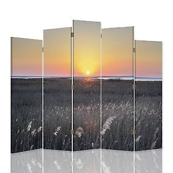 Divisória decorativa, 5 painéis, dupla face, lona, pôr do sol sobre as canas