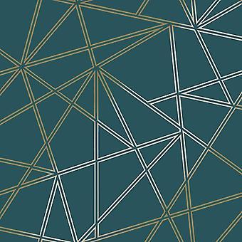 3D Apex geometrische wallpaper driehoek metallic Teal goud Holden decor Paladium