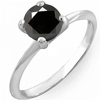 Dazzlingrock Collection 2,50 Carat (CTW) 10K sort diamant brude engagement solitaire ring, hvid guld