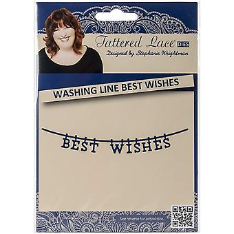Create and Craft Metal Tattered Lace DieWashing Line Best Wishes