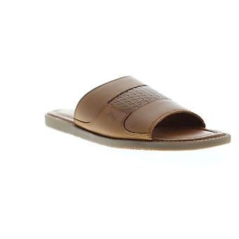 Tommy Bahama Gennadi Palms  Mens Brown Leather Slides Sandals Shoes