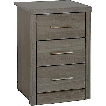 Lisbon 3 Drawer Bedside Chest - Black Wood Grain